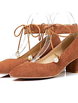 Недорогие -Жен. Комфортная обувь Замша Весна Обувь на каблуках На толстом каблуке Черный / Коричневый / Розовый