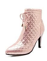 Недорогие -Жен. Комфортная обувь Полиуретан Весна лето Ботинки На шпильке Черный / Серебряный / Розовый