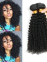 Недорогие -3 Связки Индийские волосы / Африканские косы Kinky Curly Необработанные / Натуральные волосы Подарки / Косплей Костюмы / Человека ткет Волосы 8-28 дюймовый Естественный цвет Ткет человеческих волос