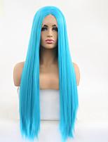 Недорогие -Синтетические кружевные передние парики Шелковисто-прямые Стиль Средняя часть Лента спереди Парик Синий Небесно-голубой Искусственные волосы 24 дюймовый Жен. Регулируется / Жаропрочная / Для вечеринок