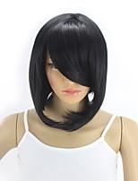billiga -Syntetiska peruker Rak Asymmetrisk frisyr Syntetiskt hår 12INCH Justerbar / Värmetåligt / syntetisk Svart Peruk Dam Korta Utan lock Svart / Ja
