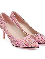 Недорогие -Жен. Комфортная обувь Полотно Весна Обувь на каблуках На шпильке Белый / Черный / Розовый