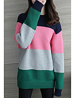 cheap -Women's Going out Long Sleeve Loose Pullover - Striped / Color Block Turtleneck