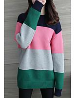 Недорогие -Жен. На выход Длинный рукав Свободный силуэт Пуловер - Полоски / Контрастных цветов Хомут