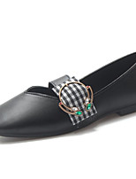 Недорогие -Жен. Комфортная обувь Полиуретан Осень На каждый день На плокой подошве На плоской подошве Квадратный носок Черный / Бежевый