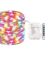 cheap -ZDM® 5m String Lights 50 LEDs SMD 0603 1 13Keys Remote Controller Warm White / Cold White / Blue Waterproof / New Design AA Batteries Powered 1 set