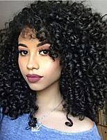 cheap -Synthetic Wig Curly Side Part Synthetic Hair 16 inch Heat Resistant / Women / With Bangs Black Wig Women's Mid Length Capless Natural Black / Yes