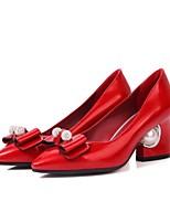 Недорогие -Жен. Балетки Полиуретан Лето Обувь на каблуках На толстом каблуке Серебряный / Красный / Розовый