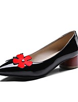 Недорогие -Жен. Комфортная обувь Полиуретан Весна & осень Милая Обувь на каблуках На толстом каблуке Заостренный носок Черный / Красный