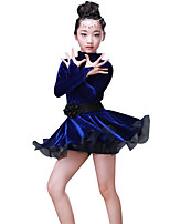 cheap -Latin Dance Dresses Girls' Performance Polyester / Cotton Sash / Ribbon / Lace-trimmed Bottom / Split Joint Long Sleeve High Dress