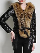 preiswerte -Damen - Einfarbig Street Schick / Anspruchsvoll Pelzmantel Pelzkragen