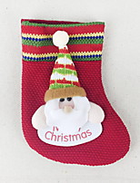 baratos -Meias Finas / Enfeites de Natal Férias Tecido de Algodão Quadrada Novidades Decoração de Natal