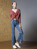 Недорогие -Жен. Активный Пуловер - Однотонный, Перекрещивание