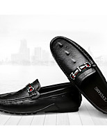 cheap -Men's Moccasin Cowhide Spring & Summer / Fall & Winter Casual Loafers & Slip-Ons White / Black