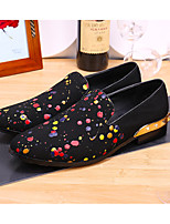 cheap -Men's Dress Shoes Leather Spring / Fall Vintage Loafers & Slip-Ons Black / Rainbow / Party & Evening