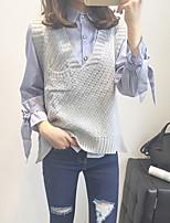 Недорогие -Жен. На выход Без рукавов Пуловер - Однотонный V-образный вырез