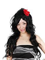 Недорогие -Парики из искусственных волос / Маскарадные парики Кудрявый Стрижка боб Искусственные волосы 30 дюймовый Модный дизайн / Косплей / Женский Черный Парик Жен. Очень длинный Машинное плетение Черный