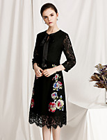 cheap -Women's Vintage / Basic A Line Dress - Floral Lace / Cut Out / Bow