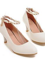 Недорогие -Жен. Комфортная обувь Полиуретан Лето Обувь на каблуках На низком каблуке Белый / Черный / Миндальный