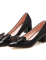 Недорогие -Жен. Комфортная обувь Полиуретан Весна Обувь на каблуках На толстом каблуке Черный / Коричневый / Красный