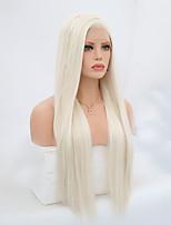 Недорогие -Синтетические кружевные передние парики Прямой Блондинка Боковая часть Искусственные волосы 24-26 дюймовый Регулируется / Жаропрочная Блондинка Парик Жен. Длинные Лента спереди Платиновый блондин