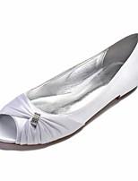 abordables -Femme Satin Printemps Confort / Ballerine Chaussures de mariage Talon Plat Bout ouvert Strass / Drapée sur le côté Bleu / Champagne / Ivoire / Mariage / Soirée & Evénement