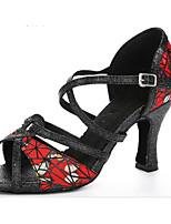 Недорогие -Жен. Обувь для латины Полиуретан На каблуках Тонкий высокий каблук Танцевальная обувь Черный