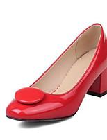 Недорогие -Жен. Комфортная обувь Полиуретан Лето Обувь на каблуках На толстом каблуке Белый / Черный / Красный