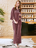 cheap -Women's Round Neck Suits Pajamas Solid Colored