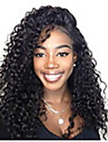 cheap -Remy Human Hair Lace Front Wig Brazilian Hair Afro Curly Wig Asymmetrical Haircut 130% / 150% Women / Easy dressing / Sexy Lady Black Women's Long Human Hair Lace Wig