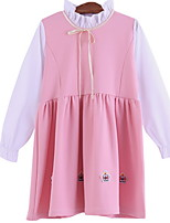 cheap -Kids Girls' Sweet Solid Colored Patchwork Long Sleeve Above Knee Dress