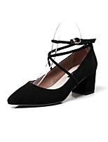 Недорогие -Жен. Замша Наступила зима Деловые Обувь на каблуках На толстом каблуке Черный / Серый / Розовый