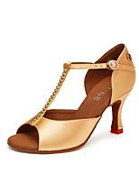 Недорогие -Жен. Обувь для латины Замша На каблуках Кубинский каблук Танцевальная обувь Черный / Желтый / Коричневый