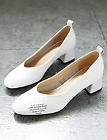 Недорогие -Жен. Балетки Наппа Leather Лето Обувь на каблуках На толстом каблуке Белый / Черный