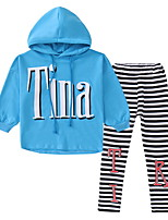 cheap -Kids Girls' Basic Solid Colored / Striped Long Sleeve Clothing Set