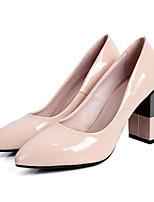 Недорогие -Жен. Обувь Наппа Leather Весна Туфли лодочки Обувь на каблуках На толстом каблуке Черный / Миндальный