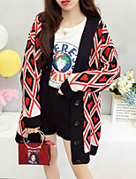 cheap -women's going out long sleeve cardigan - color block v neck