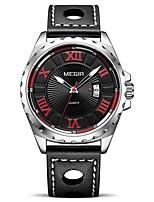 Недорогие -MEGIR Муж. Спортивные часы Японский Кварцевый 30 m Защита от влаги Календарь Фосфоресцирующий PU Группа Аналоговый На каждый день Мода Черный - Черный Серебряный