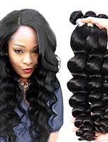 Недорогие -6 Связок Бразильские волосы Индийские волосы Свободные волны человеческие волосы Remy Необработанные натуральные волосы Подарки Косплей Костюмы Головные уборы 8-28 дюймовый Естественный цвет
