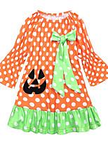 cheap -Kids / Toddler Girls' Polka Dot / Patchwork Long Sleeve Dress