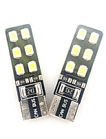 cheap -2pcs T10 Car Light Bulbs 6 W SMD 2835 480 lm 12 LED Interior Lights For universal Universal All years