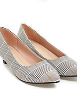 Недорогие -Жен. Комфортная обувь Микроволокно Весна / Лето Обувь на каблуках На низком каблуке Закрытый мыс Серый