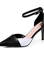 Недорогие -Жен. Комфортная обувь Наппа Leather Лето Обувь на каблуках На шпильке Черный