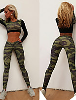 cheap -Women's Sexy Tracksuit - Camouflage Sports Fashion Leggings / Crop Top Yoga, Running, Fitness Long Sleeve Activewear Breathable, Compression, Sweat-wicking Stretchy