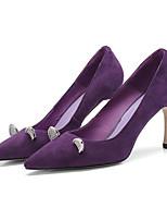 Недорогие -Жен. Комфортная обувь Замша Осень Обувь на каблуках На шпильке Черный / Лиловый