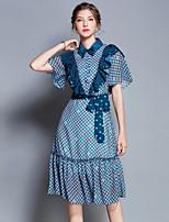 cheap -Women's Street chic A Line Dress - Houndstooth Print