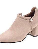 Недорогие -Жен. Балетки Полиуретан Осень Ботинки На толстом каблуке Квадратный носок Черный / Бежевый