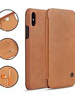 Недорогие -Кейс для Назначение Apple iPhone X / iPhone 8 Бумажник для карт / со стендом / Флип Чехол Однотонный Твердый Настоящая кожа для iPhone X / iPhone 8 Pluss / iPhone 8