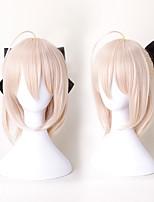cheap -Cosplay Wigs Fate / Zero Saber Anime Cosplay Wigs 20 inch Heat Resistant Fiber Women's Halloween Wigs