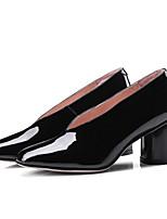Недорогие -Жен. Обувь Лакированная кожа Весна Туфли лодочки Обувь на каблуках На толстом каблуке Черный / Винный